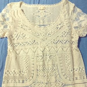 Cream lace shirt sleeve shirt from Anthropologie
